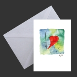 Aquarell-Künstler-Klappkarte Herz mit Umschlag