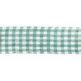 Karo-Band, grün-weiß, 40 mm mit Drahtkante