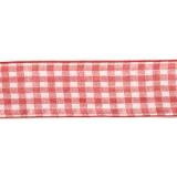 Karo-Band, rot-weiß, 40 mm mit Drahtkante