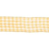 Karo-Band, gelb-weiß, 40 mm mit Drahtkante