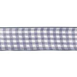 Karo-Band, blau-weiß, 40 mm mit Drahtkante