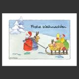 Weihnachtskarte Künstlerkarte, Nikolaus und Elch