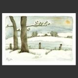 Weihnachtskarte Künstlerkarte, Schneelandschaft