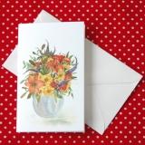 Mini Aquarell-Künstler-Klappkarte Blumenstrauß