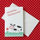 Mini Aquarell-Künstler-Klappkarte Kuh mit Blume