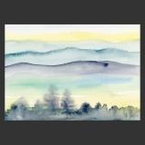 Künstlerkarte Landschaftsaquarell Berge