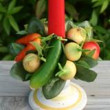 Landhaus-Deko Kerzenkranz Gemüse Tischdeko
