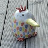 Keramik-Vogel, handgetöpfert, Haus- und Gartenkeramik