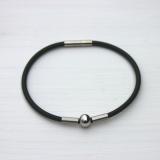 Kautschuk Armband mit Perle, Röhrchen, Bajonettverschluß