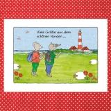 Künstlerkarte Urlaubsgrüße ... Westerhever Leuchtturm