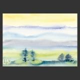 Künstlerkarte Landschaftsaquarell Bäume