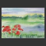 Künstlerkarte Landschaft mit Mohnblumen