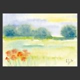 Künstlerkarte Büsche und Blumen