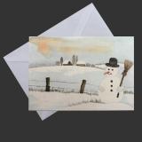Aquarell-Weihnachtskarte Schneemann