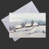 Aquarell-Weihnachtskarte Häuser im Schnee