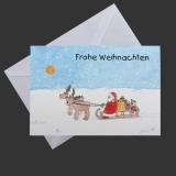 Aquarell-Weihnachtskarte Nikolaus mit Elch und Schlitten