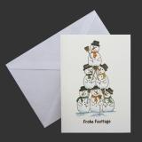 Aquarell-Weihnachtskarte Schneemann Pyramide