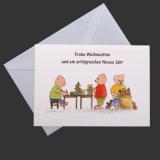 Aquarell-Weihnachtskarte Teddys beim Packen